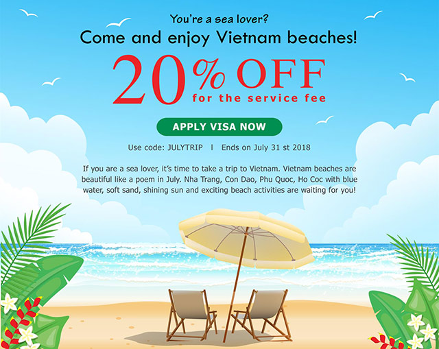 20% off for making Vietnam's Visa